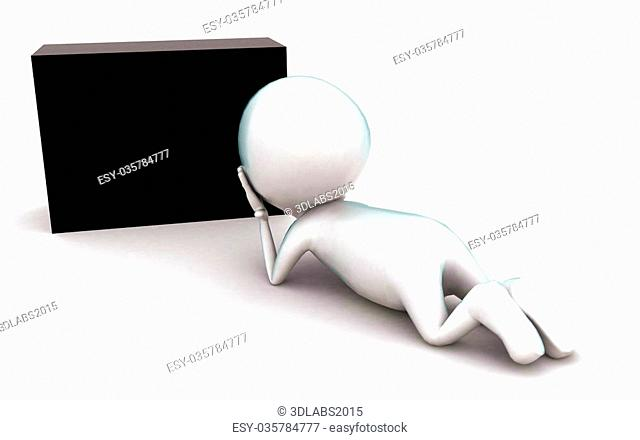 3d man wondering at a black box concept in white isolated background , front angle view