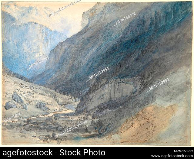 The Valley of Lauterbrunnen, Switzerland. Artist: John Ruskin (British, London 1819-1900 Brantwood, Cumbria); Date: ca. 1866; Medium: Watercolor, gouache