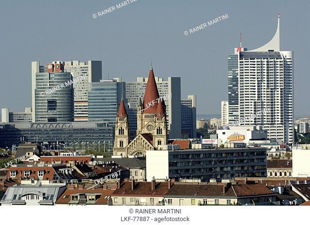 Uno City taken from Prater Ferris Wheel, Vienna International Centre, Vienna, Austria