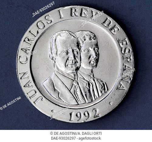 200 pesetas coin, 1992, obverse, Juan Carlos I (1938-) and his son Felipe VI (1968-). Spain, 20th century