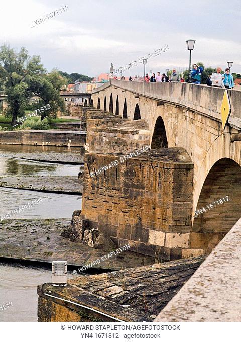 The old Stone Bridge across the Danube River at Regensburg, Germany