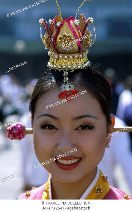 Woman Dressed in Traditional Folk Costume / Portrait, Seoul, South Korea