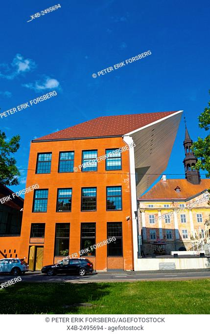 University building, with town hall in background, Raekoja Plats, old town, Narva, Ida-Viru County, eastern Estonia