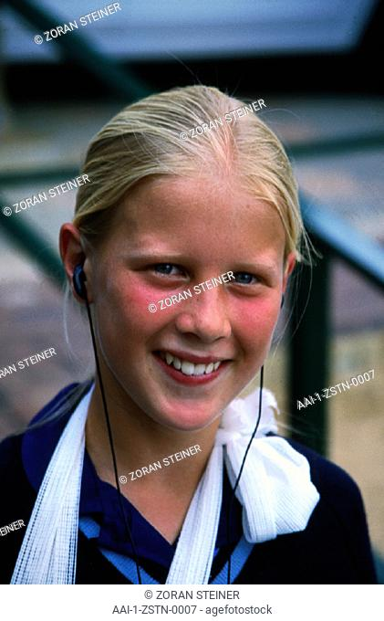Girl listening to walkman, South Africa
