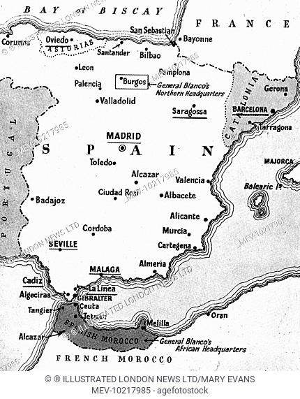 Map of Spain showing the situation at the beginning of the Spanish Civil War, July 1936.   The heaviest fighting in July took place in the places underlined on...