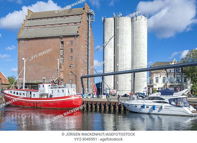 Fishing harbor with grain elevator, Burgstaaken, Fehmarn, Baltic Sea, Schleswig-Holstein, Germany, Europe