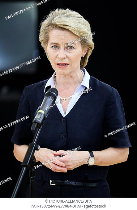 24 July 2018, Germany, Leipzig: German Minister of Defence Ursula von der Leyen of the Christian Democratic Union (CDU) delivers a statement after her visit to...