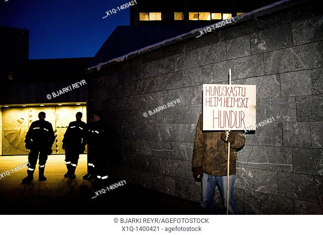 Demonstrators at The Central Bank of Iceland  They are demanding that Central Bank manager Davíð Oddson steps down and takes his responsibility for the...