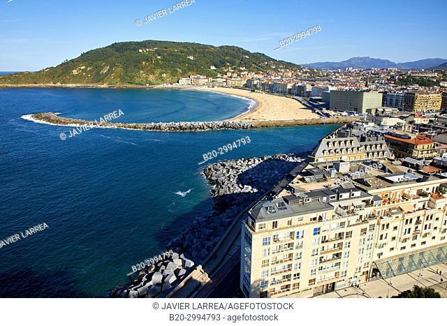 Mouth of the Urumea River, La Zurriola Beach, Donostia, San Sebastian, Gipuzkoa, Basque Country, Spain, Europe