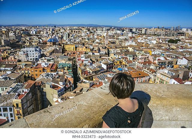 View of the city from Miguelete, Bell Tower of Santa Maria de Valencia. Cathedral. Valencia. Comunidad Valenciana. Spain