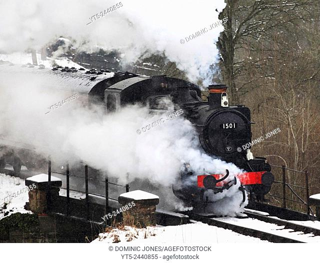 Pannier tank engine 1501 vents a whole lot of steam storming out of a snow covered Highley , Severn Valley Railway, Shropshire, England, Europe
