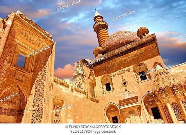 Courtyard of the 18th Century Ottoman architecture of the Ishak Pasha Palace (Turkish: Ä°shak PaŠŸa Sarayı) , AÄŸrı province of eastern Turkey