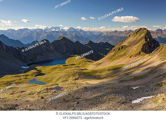 Bivouac Davide, St. Anthony valleys, Orobie regional park, Lombardy, Italy. View from Torsoleto pass