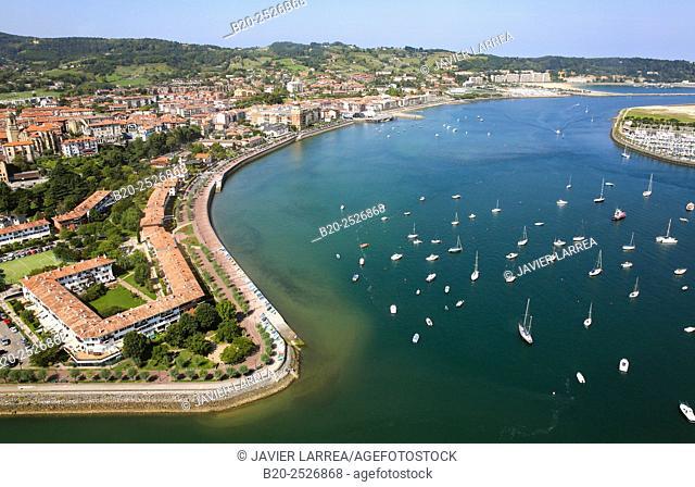 Aerial view. Bidasoa river mouth, Txingudi Bay. Hondarribia, Gipuzkoa, Basque Country, Spain