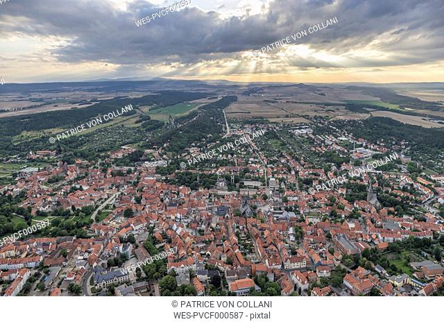Germany, aerial view of Quedlinburg in the evening