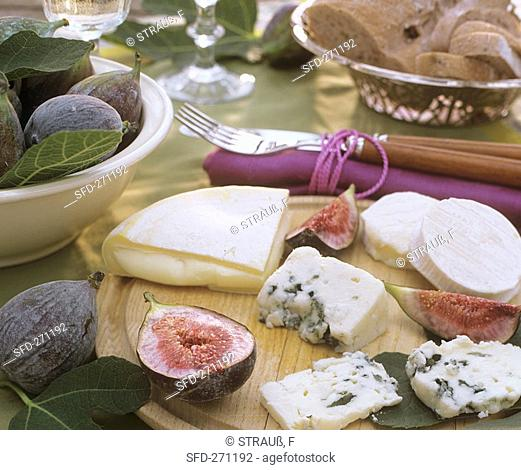 Cheese board with fresh figs