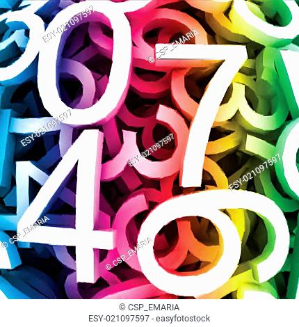 Abstract background with colorful digital numbers. Vector