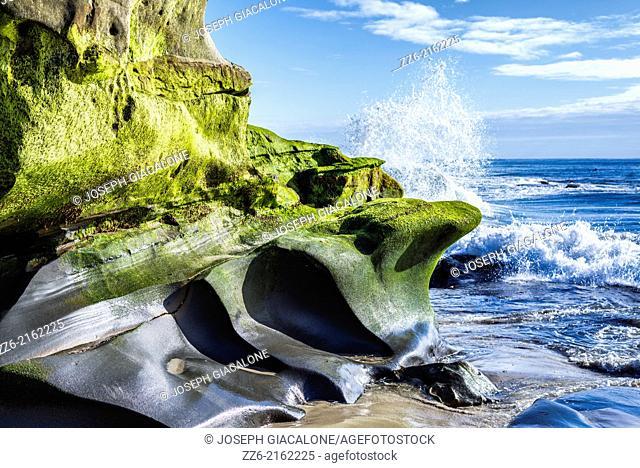 Rock formations along Windansea Beach. La Jolla, California, United States