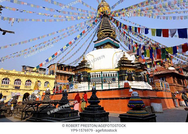 Stupa and prayer flags, Kathe simbhu, Kathmandu, Nepal