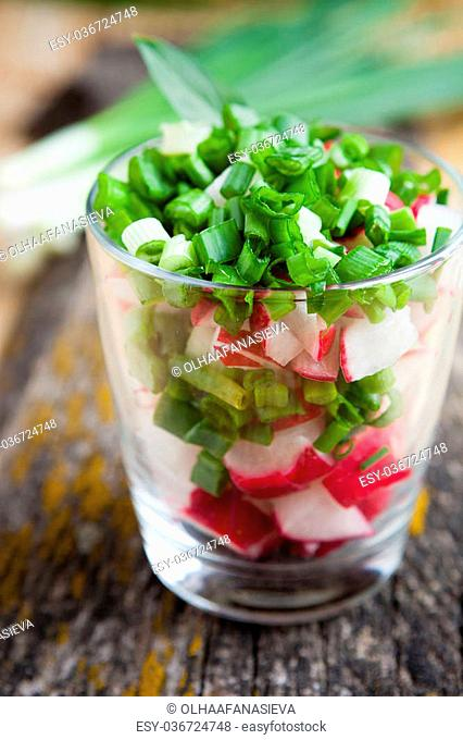 healthy food - fresh salad, closeup