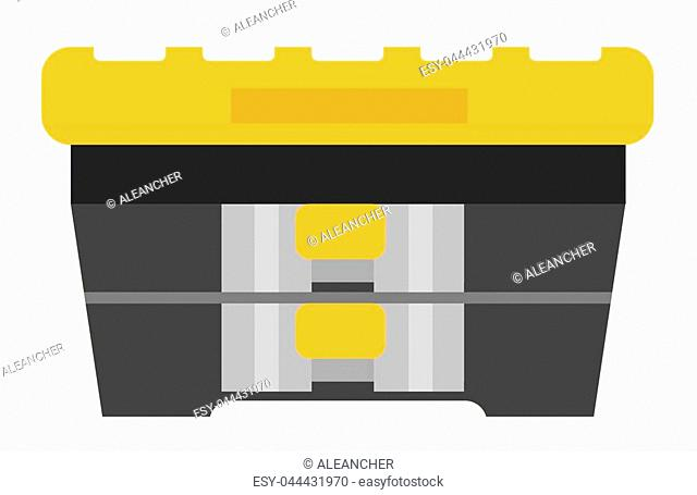 Black plastic tool box. Isolated on white. Flat vector illustration