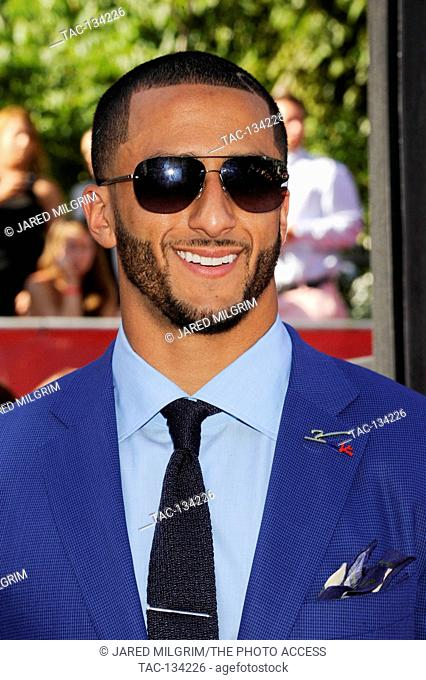 Colin Kaepernick arrives at the 2014 ESPY Awards at Nokia Theatre L.A. Live on July 16, 2014 in Los Angeles, California