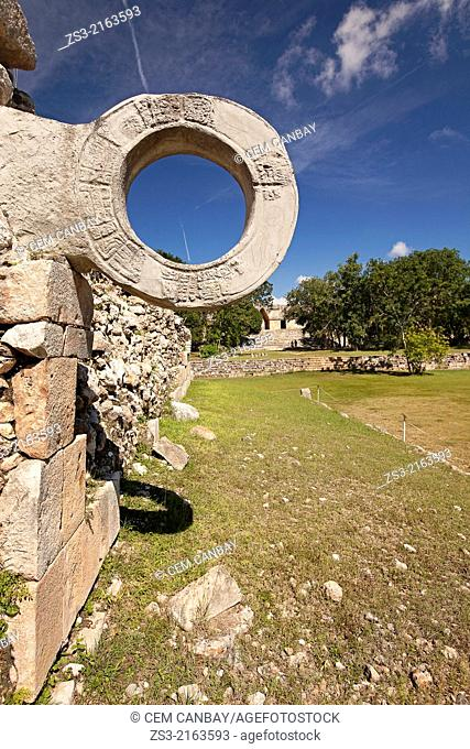 Juego de Pelota, Game or Ball court in the prehispanic Mayan city of Uxmal Archaeological Site, Uxmal, Yucatan Province, Mexico, North America