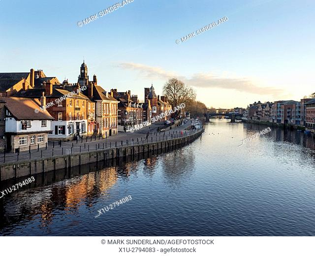 Winter Afternoon Sunlight on the Buildings on Kings Staith by the River Ouse City of York Yorkshire England