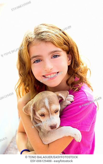 Kid girl smiling puppy dog and teeth braces smiling happy