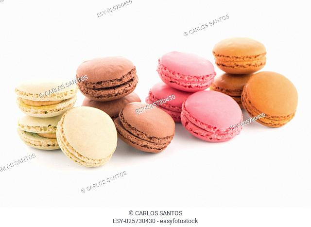 Colorful French Macarons on the white background