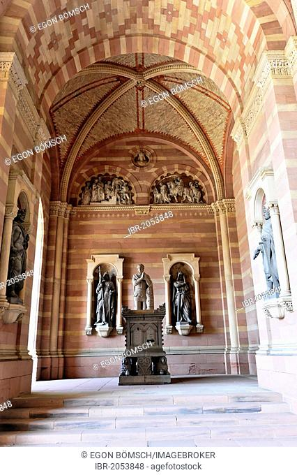 Monument to King Adolf of Nassau, Speyer Cathedral, west front, new section, construction first started in approximately 1025, Speyer, Rhineland-Palatinate