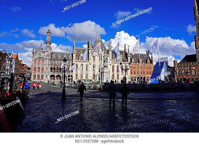 Provincial Court. Market Square -The Markt. Bruges, Belgium, Europe