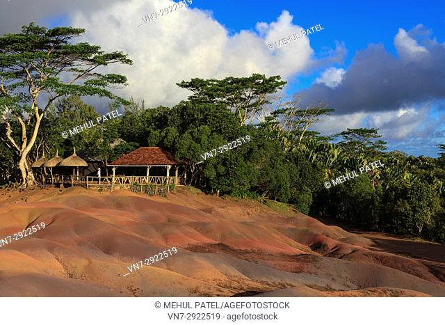 Coloured Earths (Terres de Couleurs), Chamarel, Mauritius. The Coloured Earths is geological formation and prominent tourist attraction located near the village...