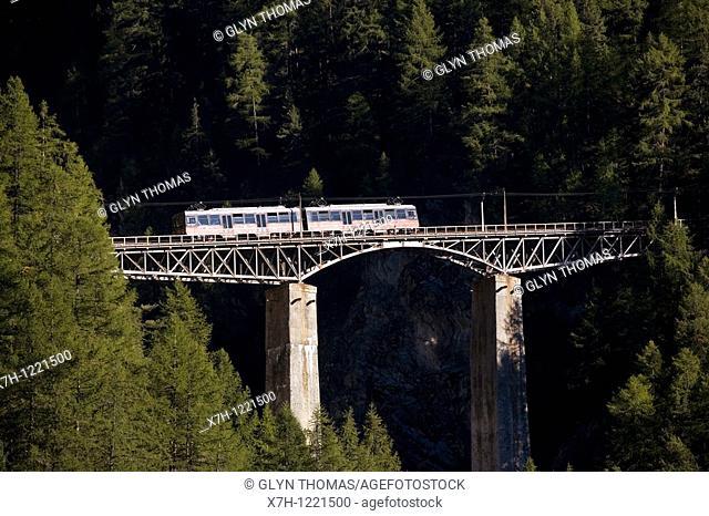 Gornergratbahn crossing the Findelbach viaduct, Zermatt, Switzerland