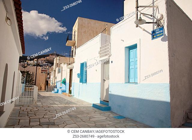 Colorful painted houses in Vrodado district, Ermoupolis, Syros, Cyclades Islands, Greek Islands, Greece, Europe