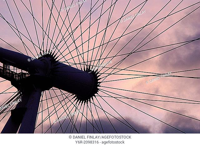 The hub of the London Eye seen against a dramatic sunset in the heart of London, England, on a Winter evening