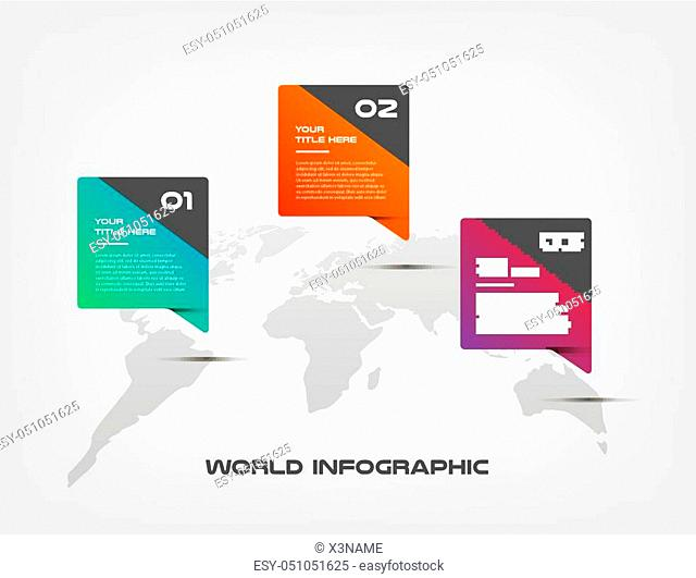 World map color infographics step by step in a series of gradient block. Element of chart, graph, diagram with 3 options - parts, processes, timelines