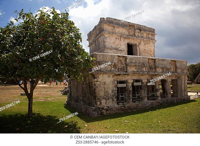 Temple at the Prehispanic Mayan city of Tulum Archaeological Site, Tulum, Quintana Roo, Yucatan Province, Mexico, North America