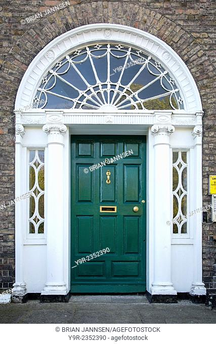 Colorful front door to home in Merrion Square, Dublin, Eire, Ireland