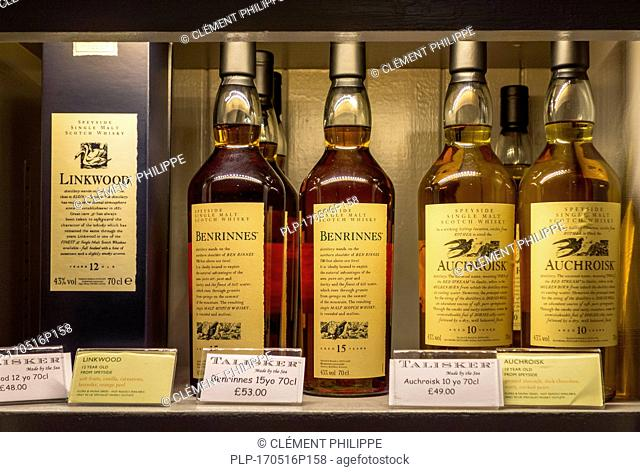 Assortment of Speyside single malt Scotch whiskies like Auchroisk and Benrinnes at the Talisker distillery in Carbost, Scotland on the Isle of Skye