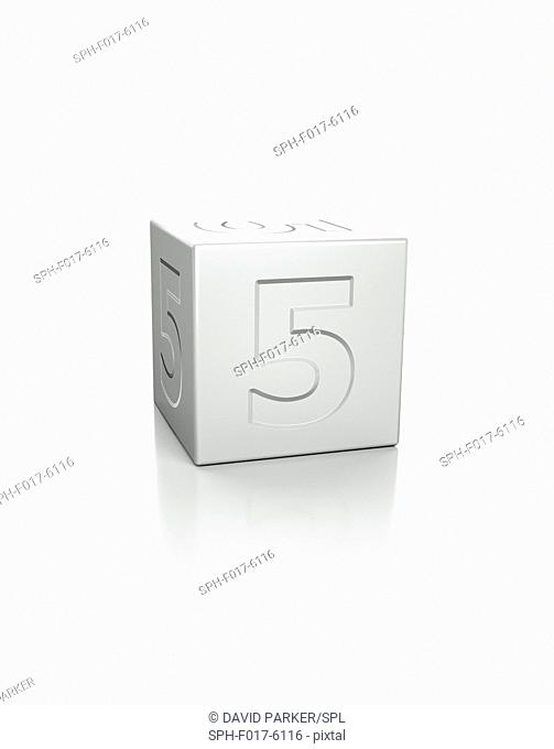 Cube with the number 5 embossed