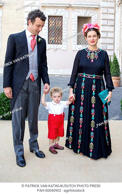 Count Giovanni Gaetani Dell'Aquila D'Aragona, wife Ginevra Elkann and their son arrive for the wedding of Belgian Prince Amedeo and Lili Rosboch at the Basilica...