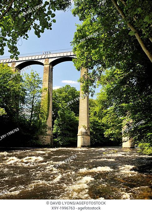 Pontcysyllte Aqueduct finished 1805 carries canal boats on Llangollen Canal over the River Dee valley near Wrexham, Wales, UK
