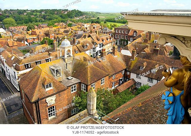 The small historical town of Rye, in East Sussex, England, at the River Rother, the Tillingham and the Brede   Blick über die historische Altstadt von Rye in...