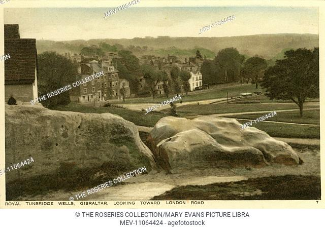 Gibraltar Rock, Royal Tunbridge Wells, Kent from Mount Ephraim - looking down toward London Road