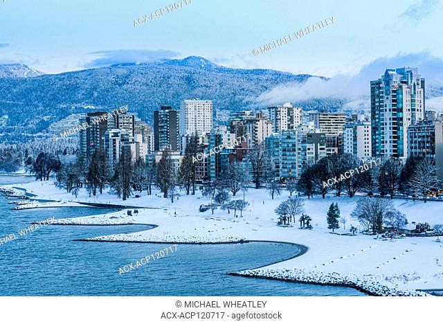 Sunset Beach is covered by snow, West End, Vancouver, British Columbia, Canada