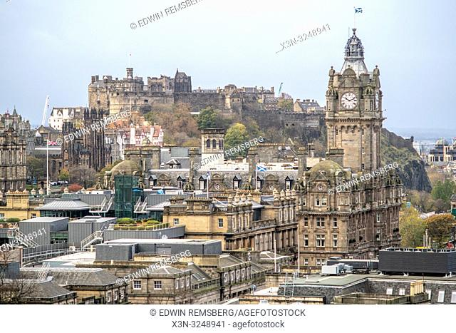 View from Calton Hill overlooking the cityscape of Edinburgh, Scotland's capital, with Edinburgh Castle in the distance, Scotland