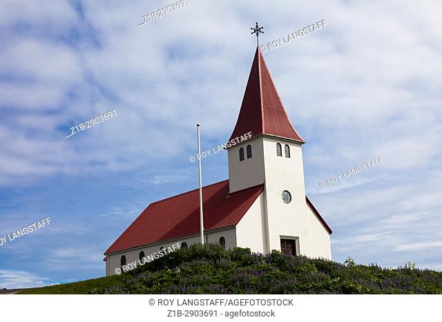 Church in the small coastal community of Vik in Iceland