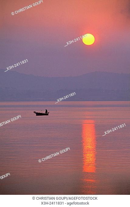 sunset over the Aegean Sea, Argolis, Peloponnese, Greece, Southern Europe