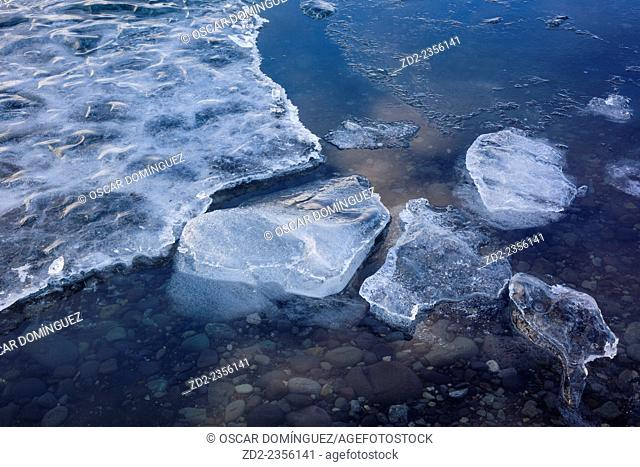 Glacial ice floating in Jokulsarlon glacier lagoon. Vatnajokull National Park. Iceland